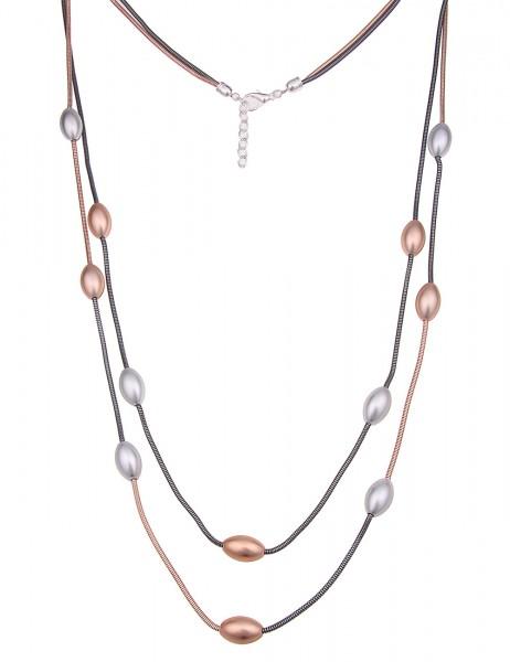 Leslii Damenkette Farben Mix aus Metalllegierung Länge 90cm in Rosé Schwarz Gold Silber Matt