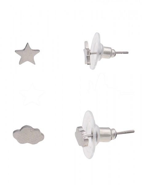 -50% SALE Leslii 4teen Damenohrringe Ohrstecker Stern Wolke aus Metalllegierung in Länge 0,7cm und 0