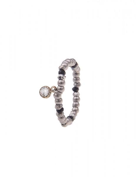Leslii Damen-Ring Stretch-Ring Glasperlen Glas-Stein silberner Modeschmuck-Ring Strass Länge dehnbar