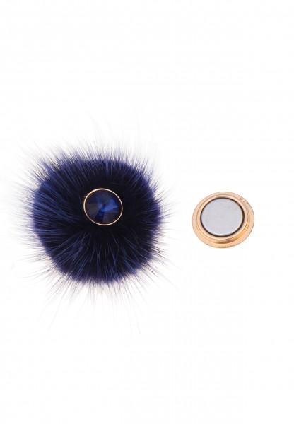 Leslii Damen-Pin Magnet-Anstecker Funkel Bommel Blau Kunstfell Glas-Stein 5cm 270216909