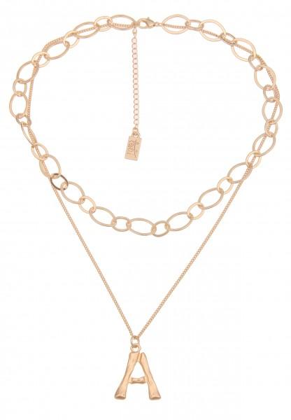Leslii Damenkette Buchstaben-Kette A-Kette Letter Layering-Kette Glieder-Kette kurze Halskette golde