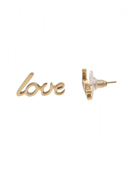 Leslii 4Teen Damenohrringe Ohrstecker Love aus Metalllegierung LxB 1cm x 2cm in Gold
