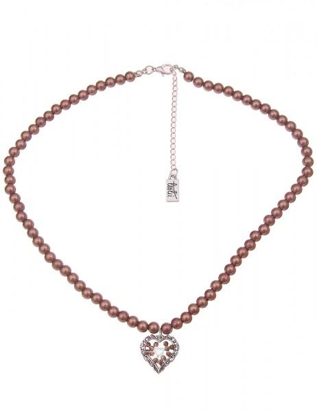 Leslii Damen-Kette Glitzer Herz-Kette braune Perlen-Kette Dirndl-Kette Oktoberfest kurze Halskette M