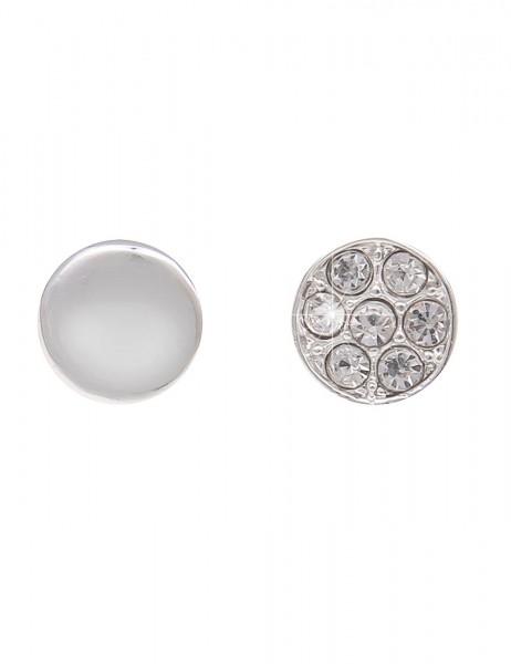 Leslii Ohrstecker 2er Set Glitzer Silber | Trendige Damen-Ohrringe | Mode-Schmuck | Ø 0,9cm und 0,7c
