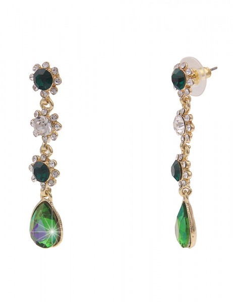 Leslii Damen-Ohrringe Ohrhänger Glitzer-Blüten Statement-Ohrringe grüne Modeschmuck-Ohrringe Ohrschm
