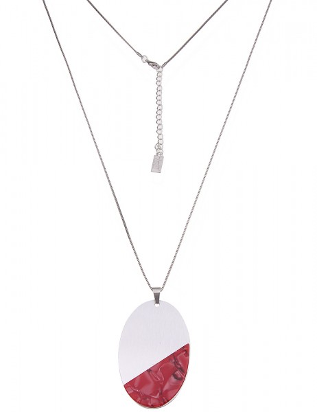 Leslii Damenkette Modern Art aus Metalllegierung mit Kunststoff Länge 84cm in Silber Rot
