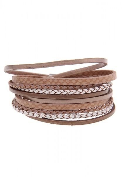 -50% SALE Leslii Wickel-Armband Easy Look Braun   modisches Damen-Armband Mode-Schmuck   Länge: 40cm