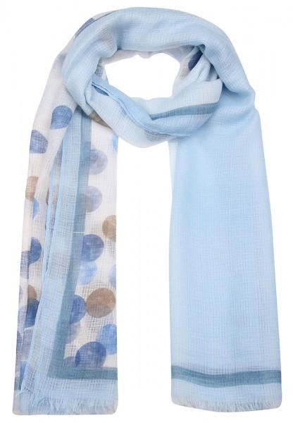 Leslii Schal Punktespiel Blau Taupe | Damen-Schal Mode-Accessoire | 184cm x 82cm