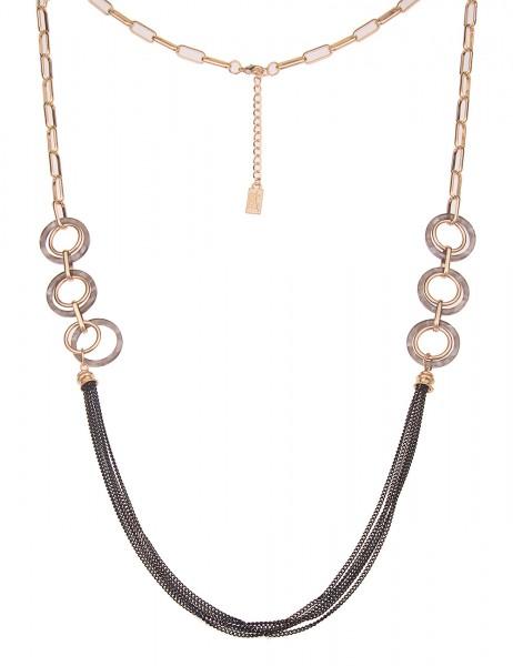 Leslii Damen-Kette Ring-Anhänger grobe Glieder-Kette Statement-Kette lange Halskette goldene Modesch