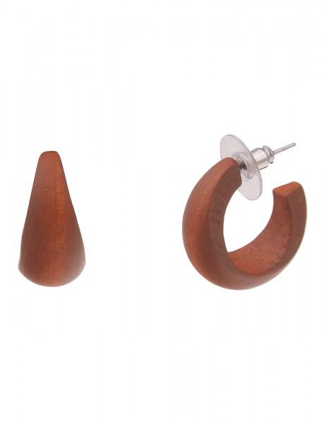 Leslii Damen-Ohrringe leichte Creolen breite Holz-Ohrringe Kreolen Holz-Schmuck   Braun