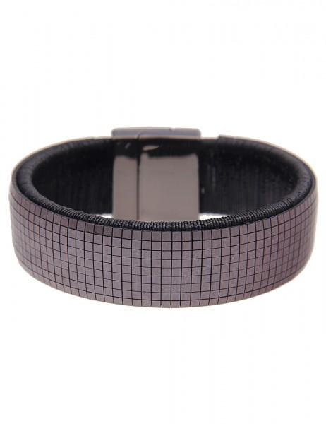 Leslii Damen-Armband Statement Glanz Textil 19,5cm mit Magnet-Verschluss Schwarz 260116701