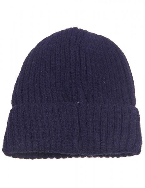 -50% SALE Leslii Winter-Mütze Rippstrick Fleece-Futter 100% Viskose Einheitsgröße Blau 920317232