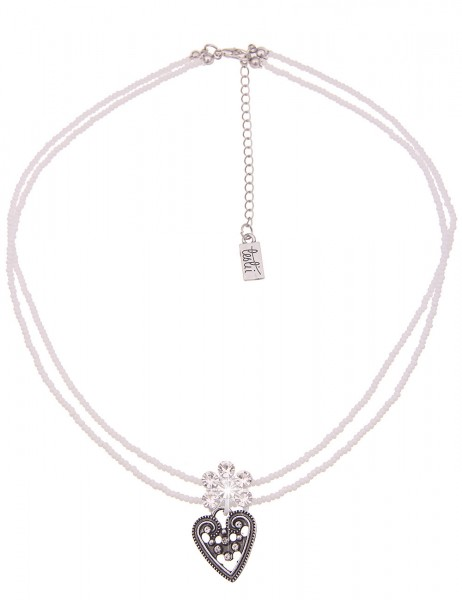 Leslii Damen-Kette Glitzer Blüte Herz-Kette Dirndl-Kette Oktoberfest kurze Halskette weiße Modeschmu