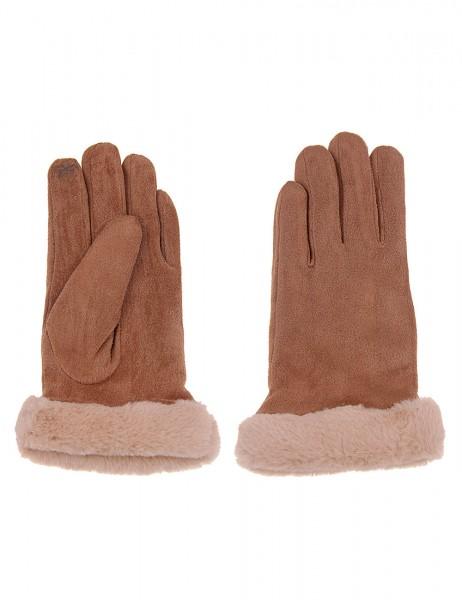 Leslii Damen Handschuhe Fashion aus Polyester mit Kunstfell Größe One Size in Braun Beige