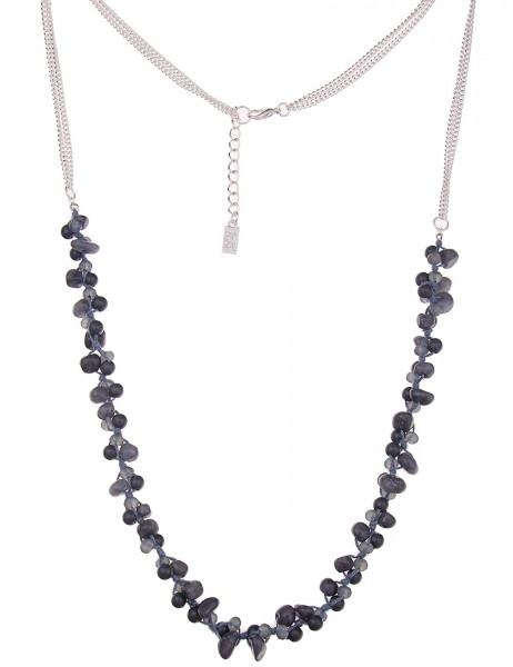 -70% SALE Leslii Halskette Stein-Mix Silber Blau | lange Damen-Kette Mode-Schmuck | 90cm + Verlänger