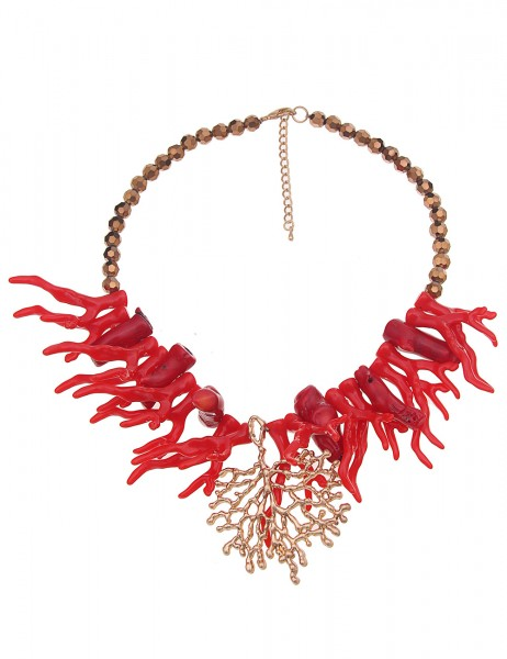 Leslii Damenkette Korallenriff Statement aus Glasperlen mit Kunststoff Länge 47cm in Rot Gold Braun