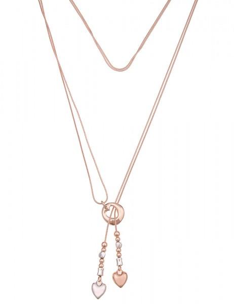 Leslii Damen-Kette Herz Bommel Y-Form Metalllegierung 94cm verstellbar Silber Rosé 220116985