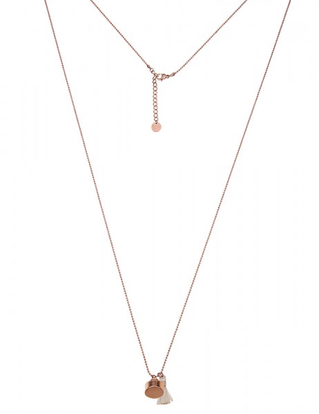 Leslii Damenkette Tassel aus Metalllegierung mit Textil Länge 90cm in Weiß Rosé