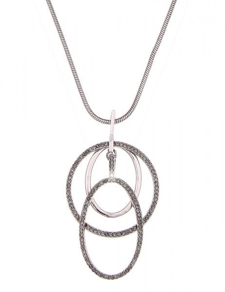 Leslii Halskette Glitzer Formen Silber Grau   lange Damen-Kette Mode-Schmuck   84cm + Verlängerung