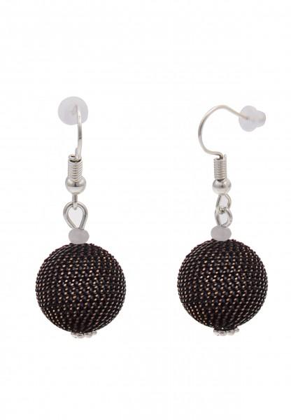 Leslii Damen-Ohrringe Ohrhänger Ketten-Kugel Metalllegierung Länge 3,9cm Schwarz 230417105