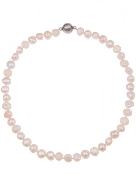 Leslii Damenkette Perlen Natur aus Süßwasser-Zuchtperlen Länge 42cm in Weiß