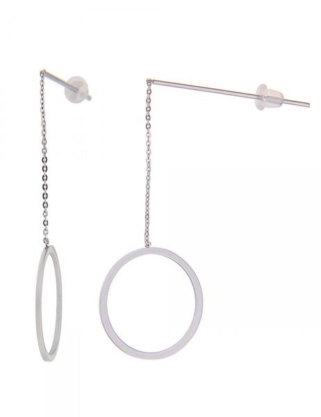 Leslii Damen-Ohrringe Ohrhänger Ring-Glanz Silber Metalllegierung 5cm 230115733