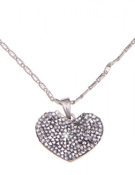 -70% SALE Leslii Halskette Statement Glitzer Herz Silber | kurze Damen-Kette Mode-Schmuck | 45cm + V