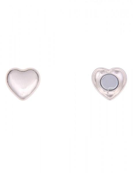 Leslii Damen Magnet-Pin Herz Liebe Streifen-Muster Magnet-Brosche Anstecknadel Schal-Pin silberner M