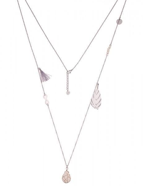 Leslii Damenkette Muster Tropfen aus Metalllegierung mit Naturstein Länge 92cm in Weiß Silber