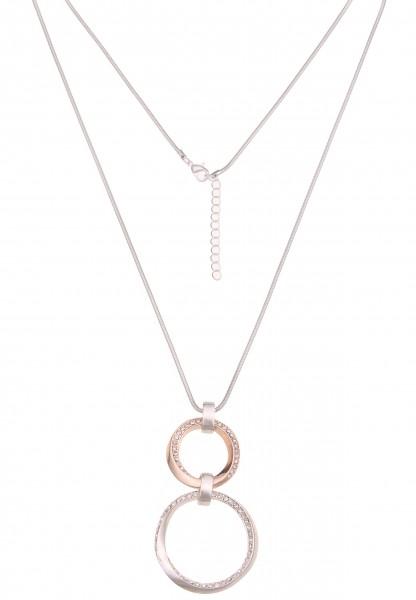 Leslii Damen-Kette Glitzer Bicolor-Ringe Wende-Kette Strass-Kette lange Halskette silberne Modeschmu