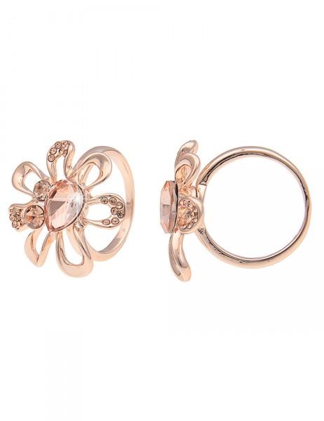 Leslii Damen-Ring Glitzer-Blume Rosé Metalllegierung Strass Größe 17mm, 18mm oder 19mm 250115655