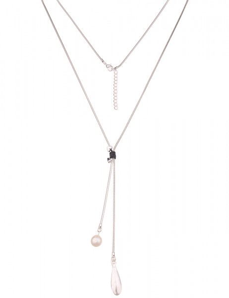 Leslii Damen-Kette Fashion Silber Schwarz Metalllegierung Lederimitat 80cm + Verlängerung 220116944