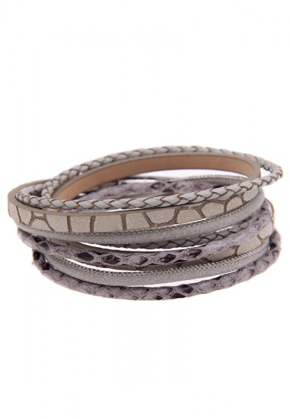 Leslii Easy Hellgrau | Trendiges Wickelarmband | Damen Mode-Schmuck | 40cm