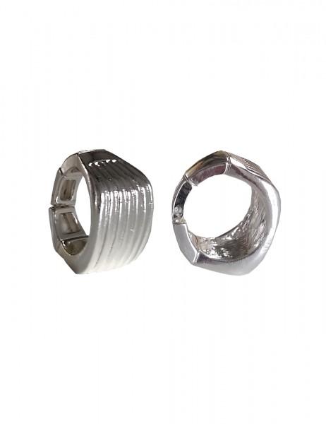 -50% SALE Leslii Damenring Statement Look Streifenmuster aus Metalllegierung Größe dehnbar in Silber