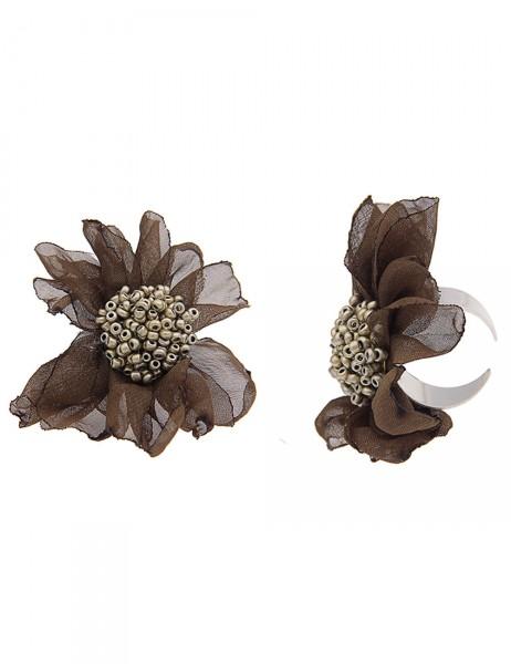 -50% SALE Leslii Damen-Ring Statement Stoff-Blüte Silber Khaki Textil Metalllegierung Größe verstell