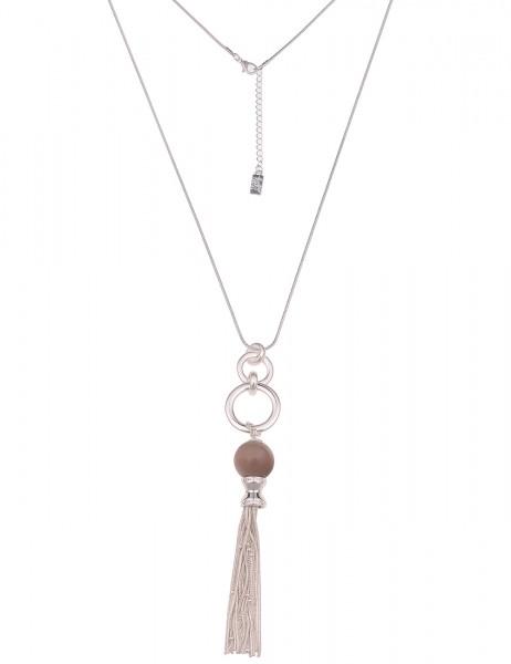 Leslii Damen-Kette Troddel Naturstein-Kugel Schlangen-Kette lange Halskette | Silber