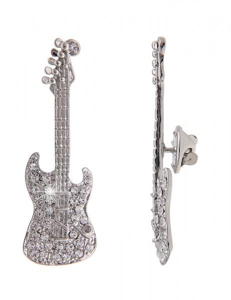 -70% SALE Leslii Pin Anstecker Glitzer Gitarre Silber | Damen-Accessoires Mode-Schmuck | Größe: 5,2c