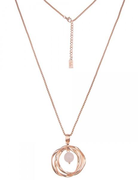 Leslii Damen-Kette Stein-Ring Rosé Rosa Metalllegierung 82cm + Verlängerung 220115644