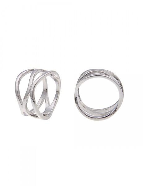 -50% SALE Leslii Damen-Ring Schwung-Streifen Silber Metalllegierung Größe 17mm, 18mm oder 19mm 25011