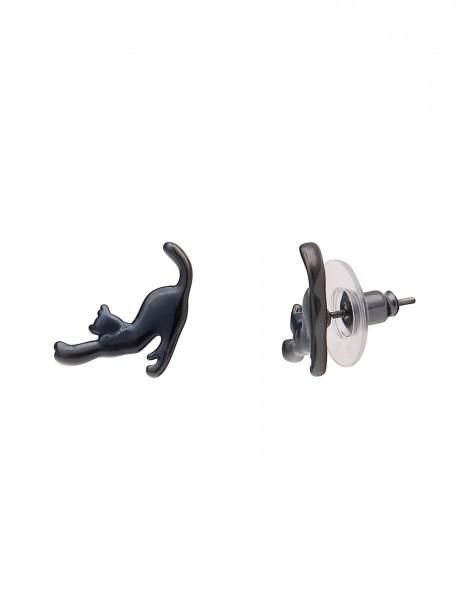 -50% SALE Leslii Damenohrringe Ohrstecker Katze aus Metalllegierung Länge 1,5cm in Schwarz