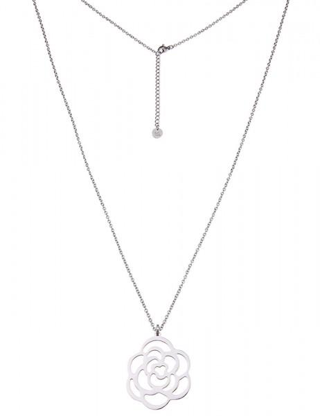 -50% SALE Leslii Damenkette Rosenblüte aus Edelstahl Länge 83cm in Silber