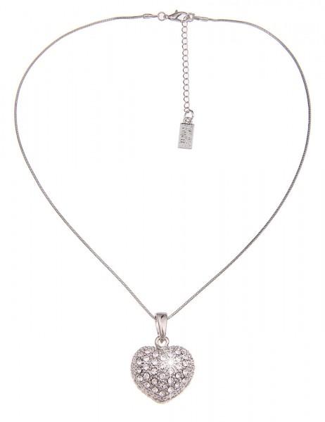 Leslii Halskette Glitzer Love Silber | kurze Damen-Kette Mode-Schmuck | 44cm + Verlängerung