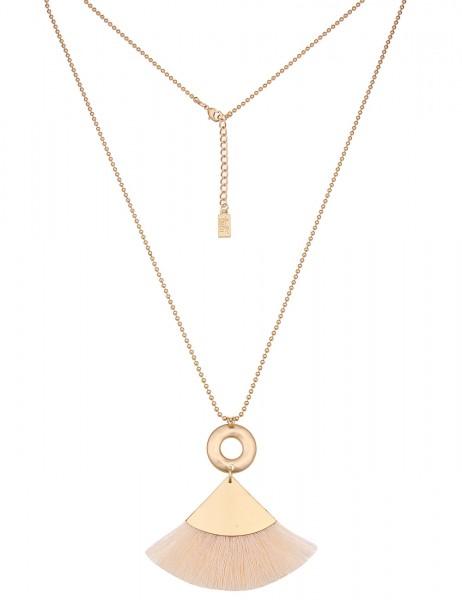 -50% SALE Leslii Damen-Kette Bommel-Dreieck Gold Beige Metalllegierung Textil 79cm + Verlängerung 22