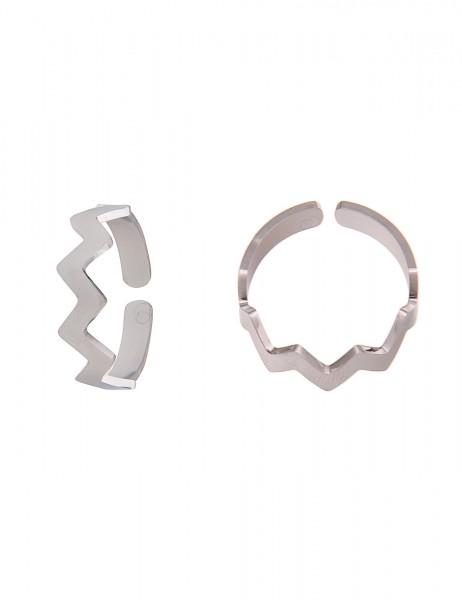 Leslii 4teen Damenring Zick Zack aus Metalllegierung Größe verstellbar in Silber