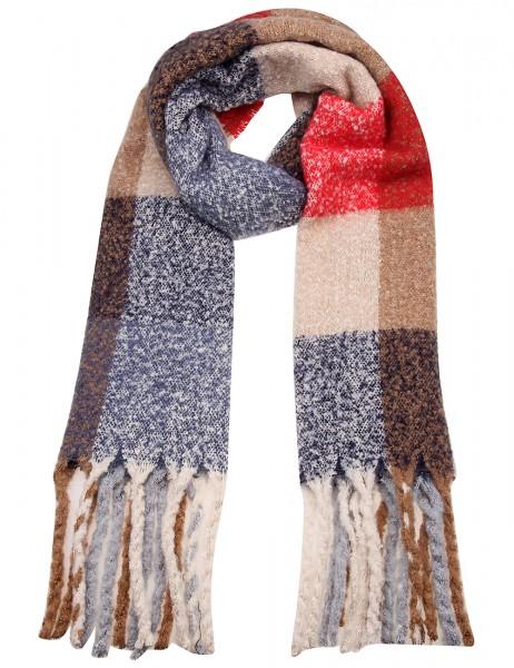 Leslii Damen XXL-Schal Quadrat Look 100% Polyester 190cm x 52cm Rot Blau Braun 900217153