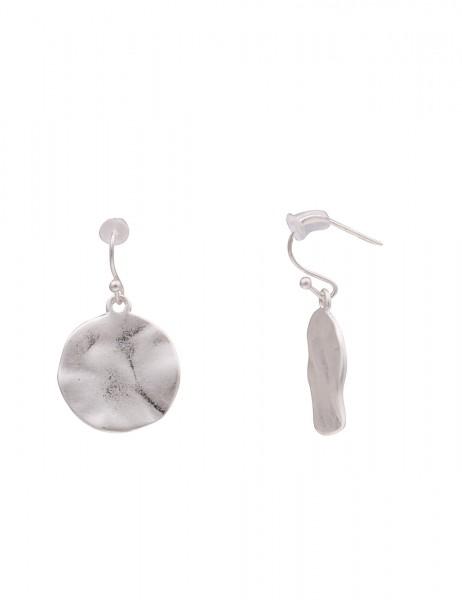 Leslii Damenohrring Ohrhänger Matt Rund aus Metalllegierung Länge 3,1cm in Silber