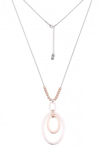Leslii Damen-Kette Bicolor-Kette Oval-Anhänger Schlangen-Kette lange Halskette silberne Modeschmuck-
