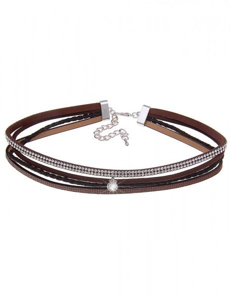 -70% SALE Leslii Halskette Choker Mix Braun | kurze Damen-Kette Mode-Schmuck | 39cm + Verlängerung