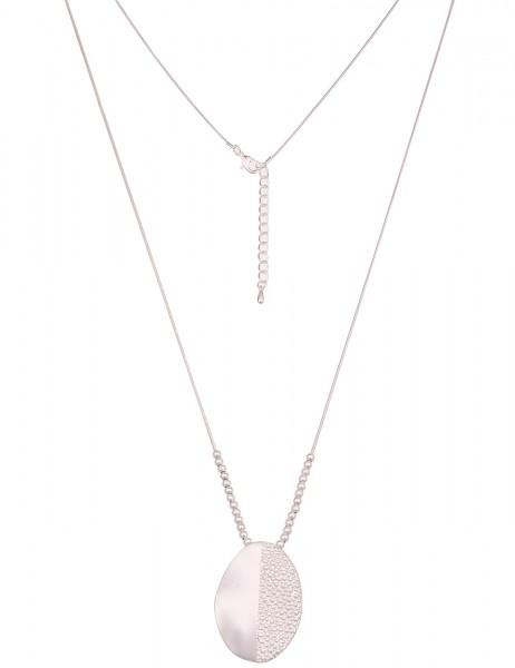 Leslii Damen-Kette Muster Oval Silber Metalllegierung Matt 83cm + Verlängerung 220117016