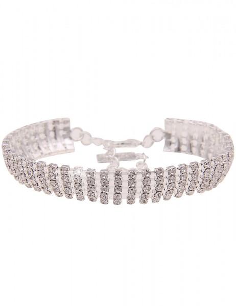 Leslii Damen-Armband Glitzer Statement-Armband Strass-Armband Strass-Schmuck silbernes Modeschmuck-A